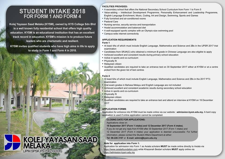 Student Intake 2018 For Form 1 and Form 4. Apply now!!!