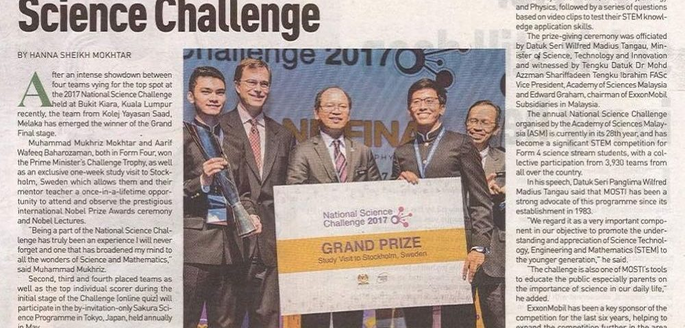 Melaka team wins National Science Challenge (New Straits Times) 29 August 2017 - 2