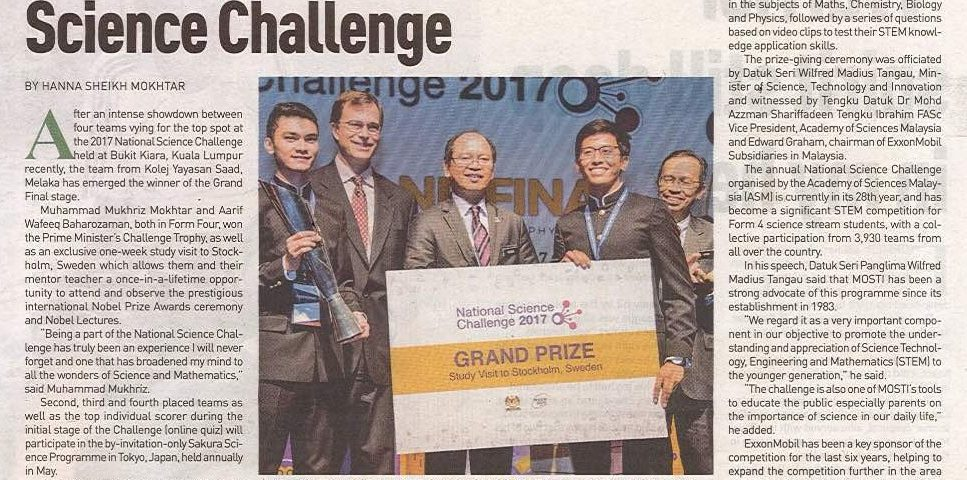 Melaka team wins National Science Challenge (New Straits Times) 29 August 2017